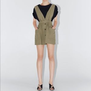 NWOT zara pinafore dress with pockets light khaki